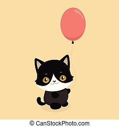 большой, черный, eyes., кот, illustration., милый, мультфильм, вектор