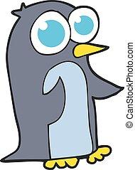 большой, eyes, мультфильм, пингвин