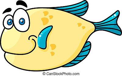 большой, eyes, cartooned, рыба, улыбается