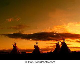 большой, teepee, закат солнца
