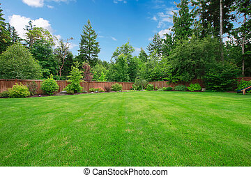 большой, trees., fenced, зеленый, задний двор