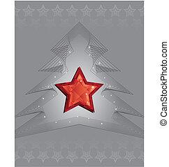 бриллиант, звезда, дерево, серебряный, дизайн, рождество, красный
