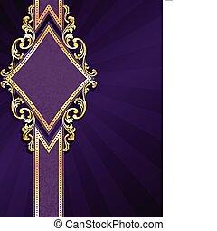 бриллиант, золото, фасонный, пурпурный, &, баннер