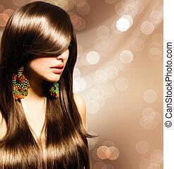 брюнетка, волосы, girl., коричневый, здоровый, длинный, красивая