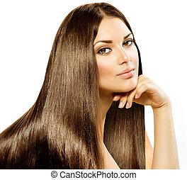 брюнетка, девушка, hair., isolated, красивая, длинный, прямо, белый