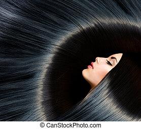 брюнетка, женщина, красота, черный, hair., здоровый, длинный