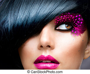 брюнетка, прическа, мода, portrait., модель