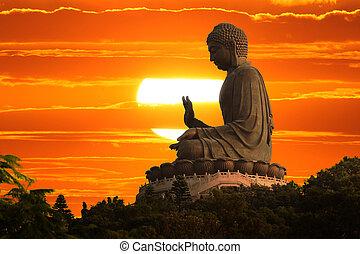 будда, закат солнца