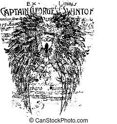 буквенное обозначение, крыло, задний план, щит