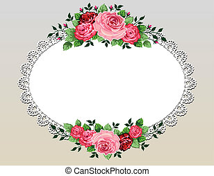 букет, марочный, рамка, roses