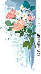 букет, цветы, гранж, задний план