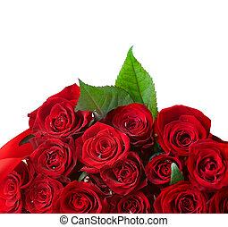букет, roses, граница, красный