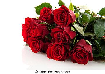 букет, roses, красный