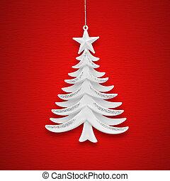 бумага, дерево, рождество, задний план, красный