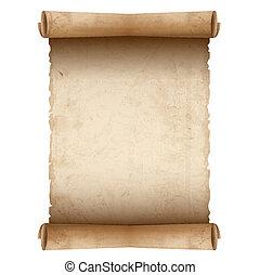 бумага, старый, вектор, свиток