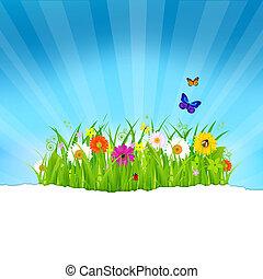 бумага, цветы, трава, зеленый