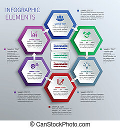 бумага, hexagons, infographics