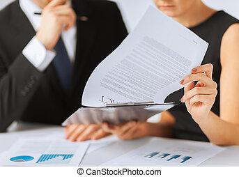 бумага, signing, женщина, контракт, человек