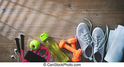 бутылка, питание, полотенце, оборудование, фитнес, кроссовки, здоровый, воды