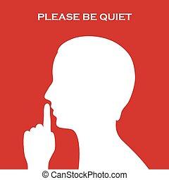быть, пожалуйста, тихо, знак