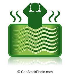 ванна, горячий, ванна, ванна, зеленый, /, спа