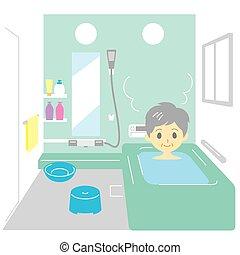 ванна, принятие, женщина, старый
