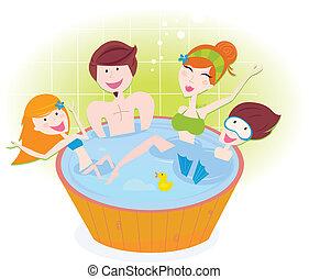ванна, счастливый, семья, водоворот