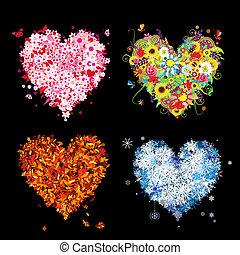 ваш, весна, winter., seasons, -, осень, лето, изобразительное искусство, hearts, 4, дизайн, красивая