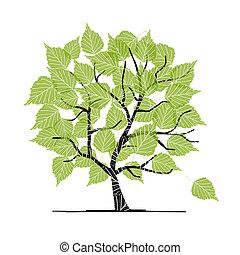 ваш, дизайн, дерево, зеленый, береза