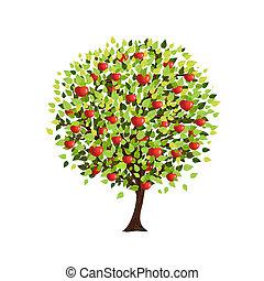 ваш, дизайн, дерево, яблоко, isolated