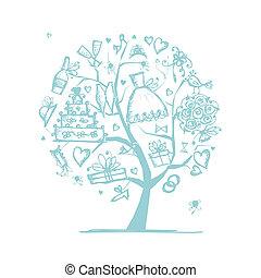 ваш, свадьба, дерево, дизайн, концепция