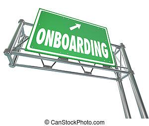 введение, добро пожаловать, знак, автострада, onboarding, наемный рабочий, новый