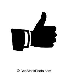 вверх, вектор, черный, большой палец, значок