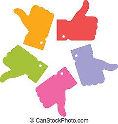 вверх, круг, большой палец, красочный, icons