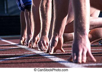 вверх, race., начало, руки, легкая атлетика, линия, runners