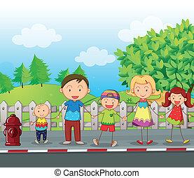 вдоль, семья, дорога