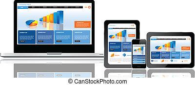 веб-сайт, множественный, шаблон, devices