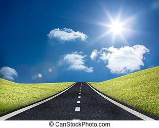 ведущий, дорога, вне, горизонт