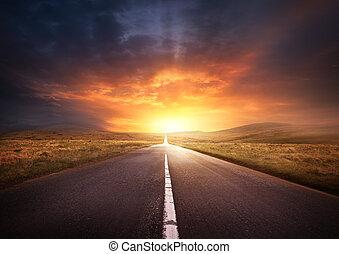 ведущий, закат солнца, дорога