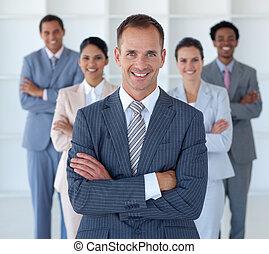 ведущий, постоянный, команда, his, менеджер, бизнес, офис