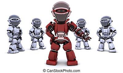 ведущий, робот, красный, команда