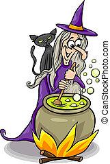 ведьма, орфографии, кастинг, мультфильм, иллюстрация