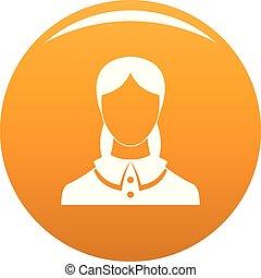 вектор, аватар, женский пол, оранжевый, новый, значок