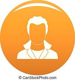вектор, аватар, оранжевый, новый, человек, значок