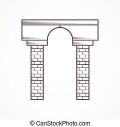 вектор, арка, contour, значок
