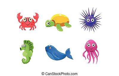 вектор, веселая, задавать, квартира, мобильный, animals., игра, книга, море, мультфильм, морской, children, faces., creatures