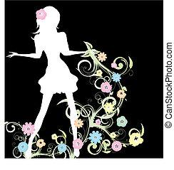 вектор, весна, иллюстрация, задний план, черный, девушка, цветы, причудливый узор