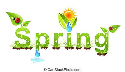 вектор, весна, концепция, слово