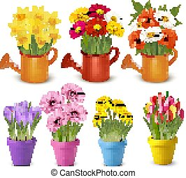 вектор, весна, pots., большой, лето, цветы, коллекция, красочный