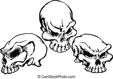 вектор, графический, im, группа, skulls